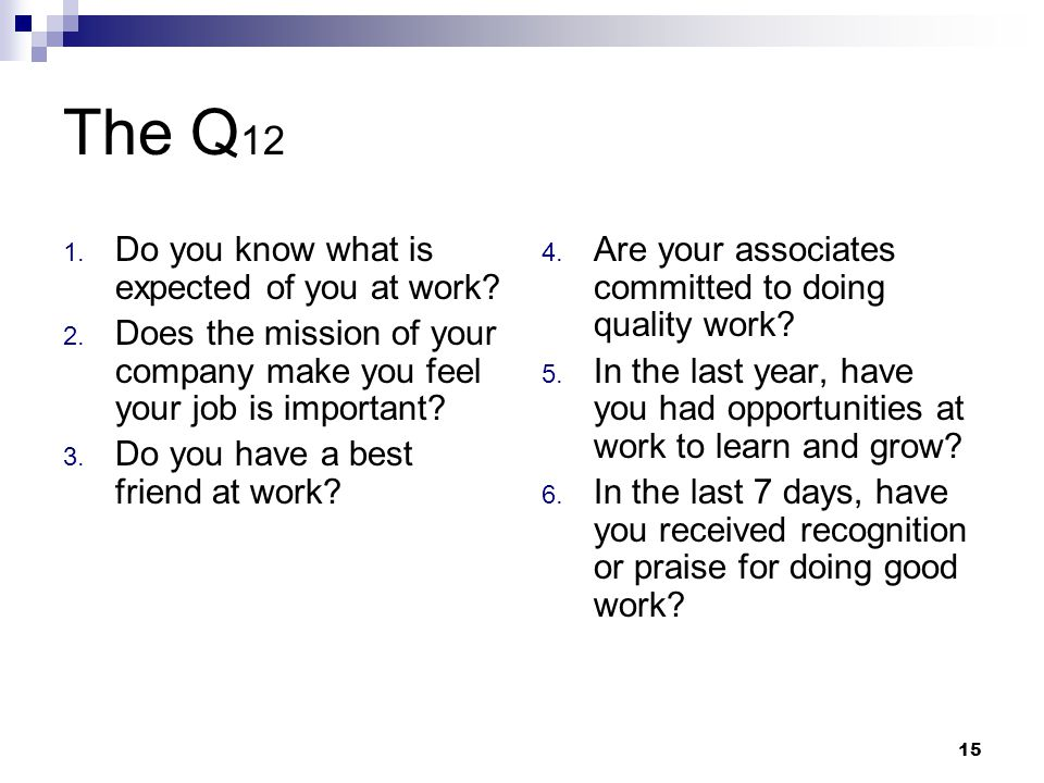 15 The Q 12 1. Do you know what is expected of you at work? 2. Does the mission of your company make you feel your job is important? 3. Do you have a