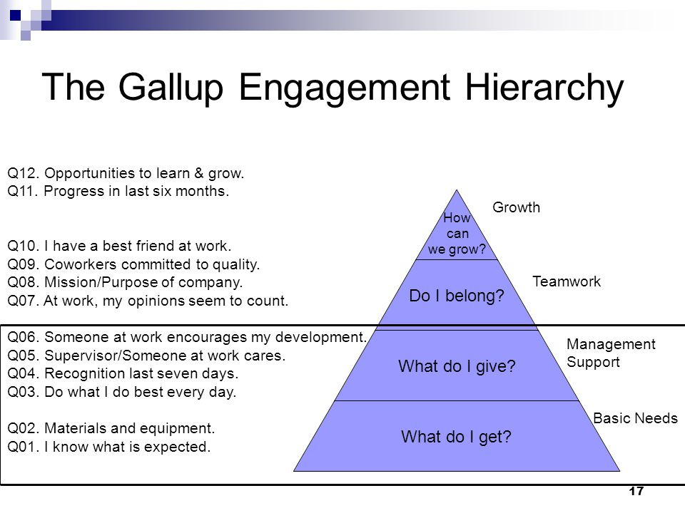 17 The Gallup Engagement Hierarchy How can we grow? Do I belong? What do I give? What do I get? Growth Teamwork Management Support Basic Needs Q12. Op