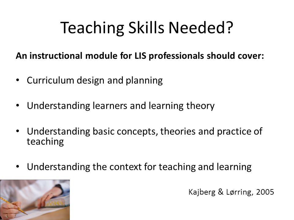 Teaching Skills Needed.