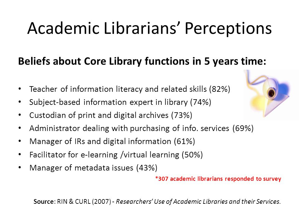 Academic Librarians' Perceptions Beliefs about Core Library functions in 5 years time: Teacher of information literacy and related skills (82%) Subject-based information expert in library (74%) Custodian of print and digital archives (73%) Administrator dealing with purchasing of info.