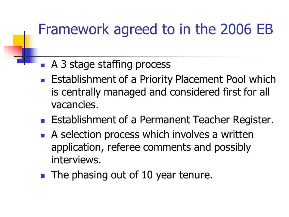 Framework agreed to in the 2006 EB A 3 stage staffing process Establishment of a Priority Placement Pool which is centrally managed and considered fir