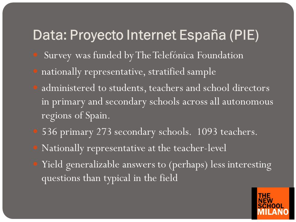 Data: Proyecto Internet España (PIE) Survey was funded by The Telefónica Foundation nationally representative, stratified sample administered to students, teachers and school directors in primary and secondary schools across all autonomous regions of Spain.