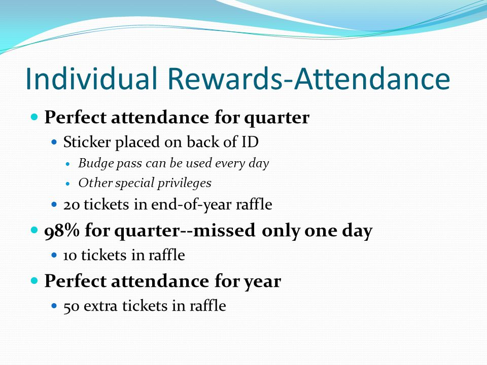 Individual Rewards-Attendance Perfect attendance for quarter Sticker placed on back of ID Budge pass can be used every day Other special privileges 20