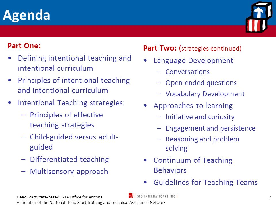 Head Start State-based T/TA Office for Arizona A member of the National Head Start Training and Technical Assistance Network Intentional Teaching: Part Two 23