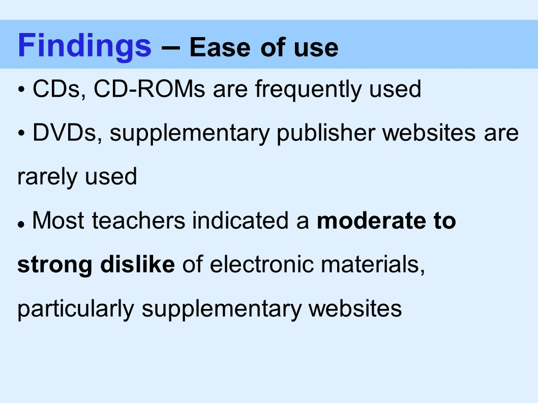 Findings – Ease of use CDs, CD-ROMs are frequently used DVDs, supplementary publisher websites are rarely used Most teachers indicated a moderate to strong dislike of electronic materials, particularly supplementary websites