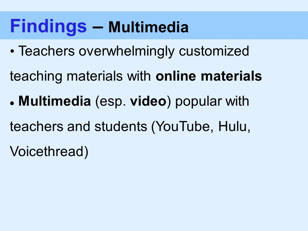 Findings – Multimedia Teachers overwhelmingly customized teaching materials with online materials Multimedia (esp.