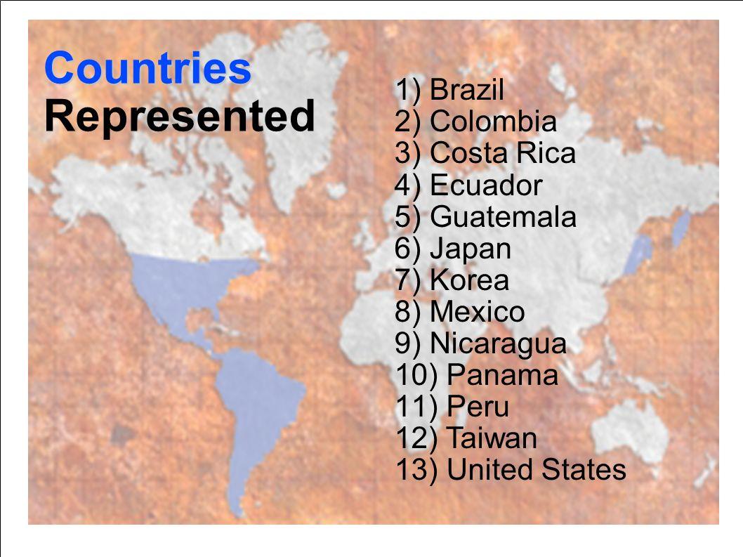 1) Brazil 2) Colombia 3) Costa Rica 4) Ecuador 5) Guatemala 6) Japan 7) Korea 8) Mexico 9) Nicaragua 10) Panama 11) Peru 12) Taiwan 13) United States Countries Represented