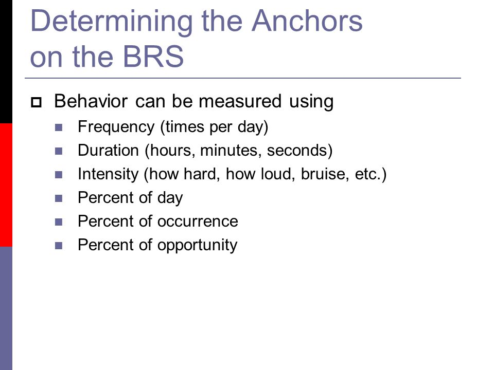 Determining the Anchors on the BRS  Behavior can be measured using Frequency (times per day) Duration (hours, minutes, seconds) Intensity (how hard, how loud, bruise, etc.) Percent of day Percent of occurrence Percent of opportunity
