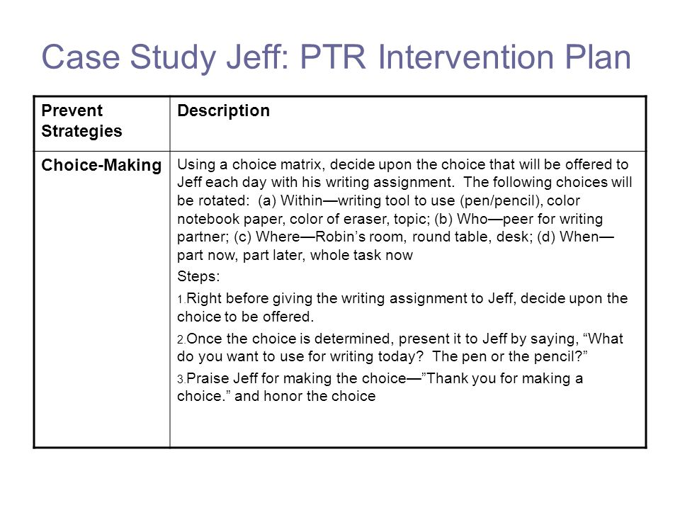 Case Study Jeff: PTR Intervention Plan Prevent Strategies Description Choice-Making Using a choice matrix, decide upon the choice that will be offered to Jeff each day with his writing assignment.