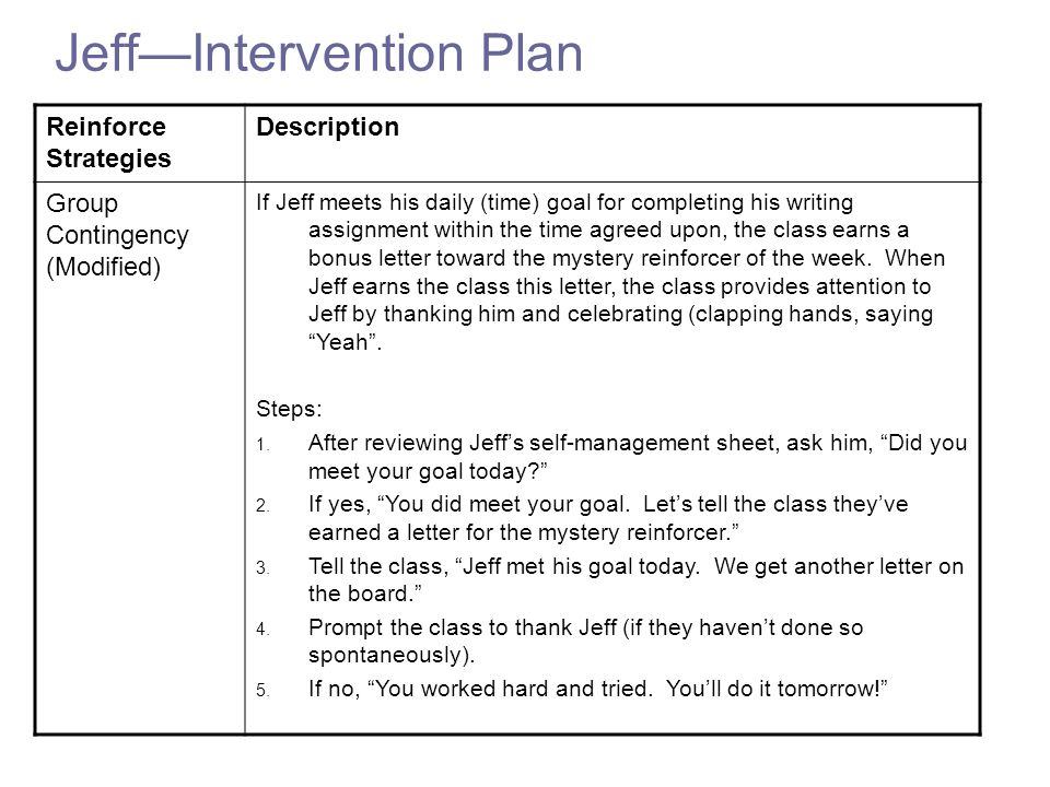 Jeff—Intervention Plan Reinforce Strategies Description Group Contingency (Modified) If Jeff meets his daily (time) goal for completing his writing assignment within the time agreed upon, the class earns a bonus letter toward the mystery reinforcer of the week.