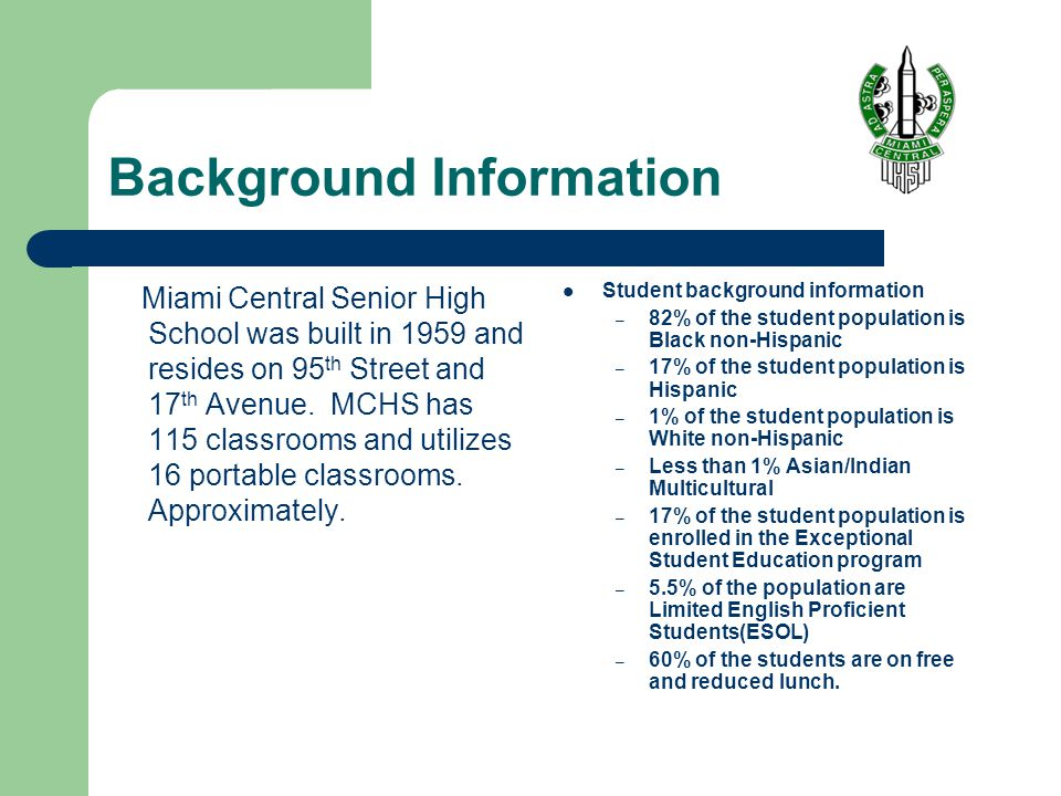 Background Information Miami Central Senior High School was built in 1959 and resides on 95 th Street and 17 th Avenue.