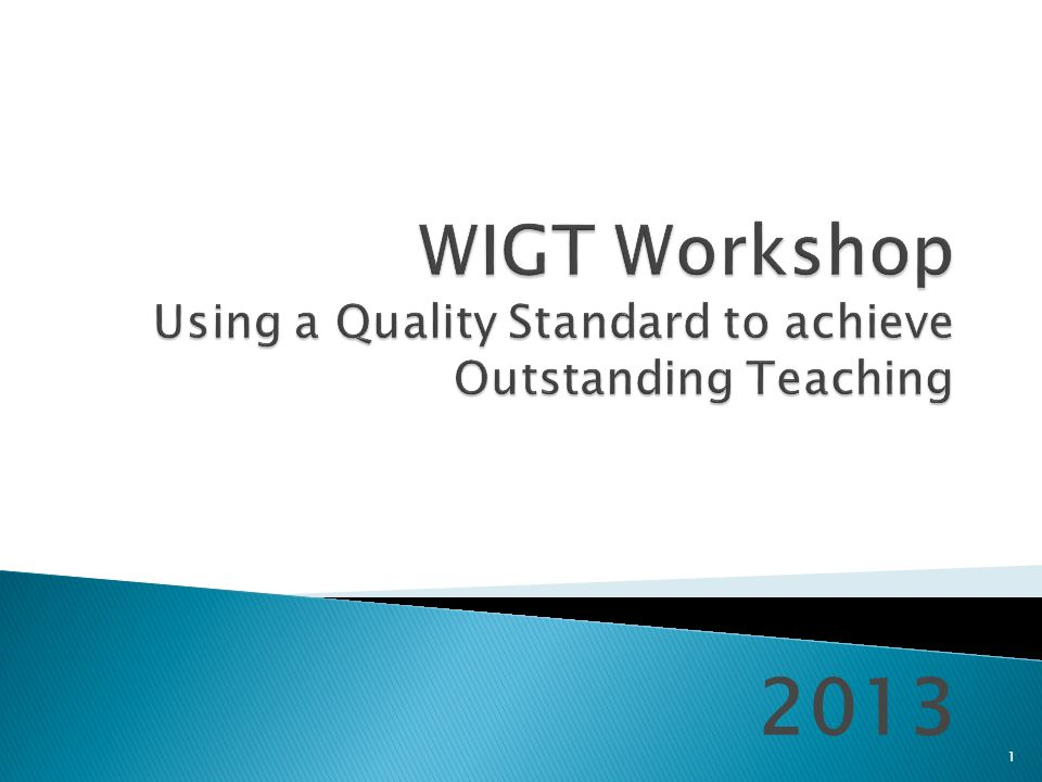  Introduction  Ofsted judgements on T&L  Introduction to the WIGT  The WIGT Family – how to get a broader view  Using the WIGT to support Appraisal 2