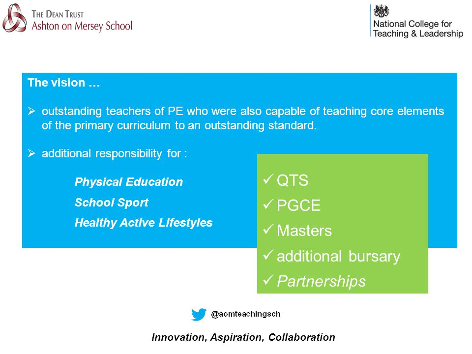 The vision …  outstanding teachers of PE who were also capable of teaching core elements of the primary curriculum to an outstanding standard.
