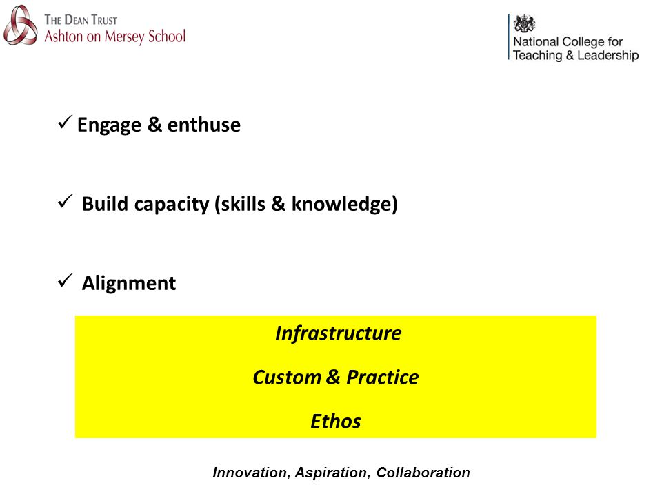 Engage & enthuse Build capacity (skills & knowledge) Alignment Infrastructure Custom & Practice Ethos Innovation, Aspiration, Collaboration