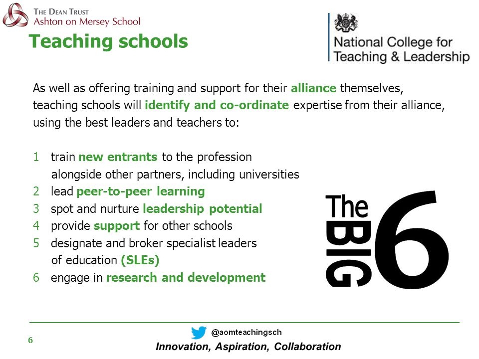 6 Teaching schools As well as offering training and support for their alliance themselves, teaching schools will identify and co-ordinate expertise from their alliance, using the best leaders and teachers to: 1 train new entrants to the profession alongside other partners, including universities 2 lead peer-to-peer learning 3 spot and nurture leadership potential 4 provide support for other schools 5designate and broker specialist leaders of education (SLEs) 6 engage in research and development