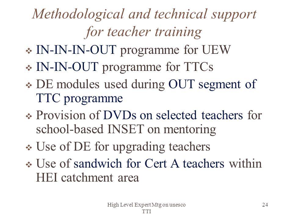 High Level Expert Mtg on unesco TTI 24 Methodological and technical support for teacher training  IN-IN-IN-OUT programme for UEW  IN-IN-OUT programm