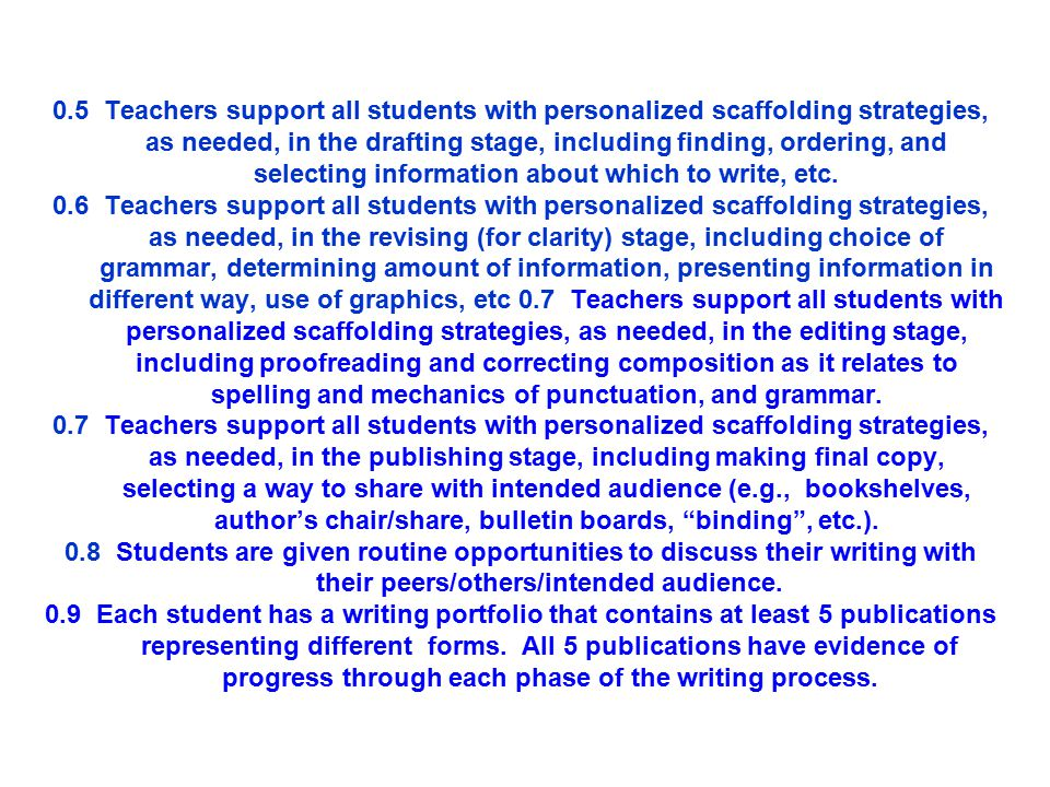 """Outcome: Students engage in a """"writing process"""" to write for a number of different purposes. 0.1 Teachers teach students the stages of the writing pro"""