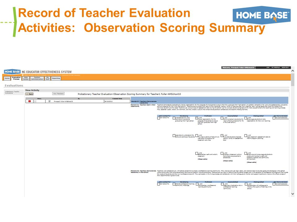 Record of Teacher Evaluation Activities: Observation Scoring Summary
