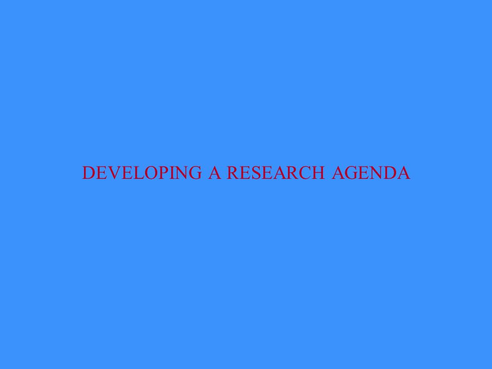 DEVELOPING A RESEARCH AGENDA