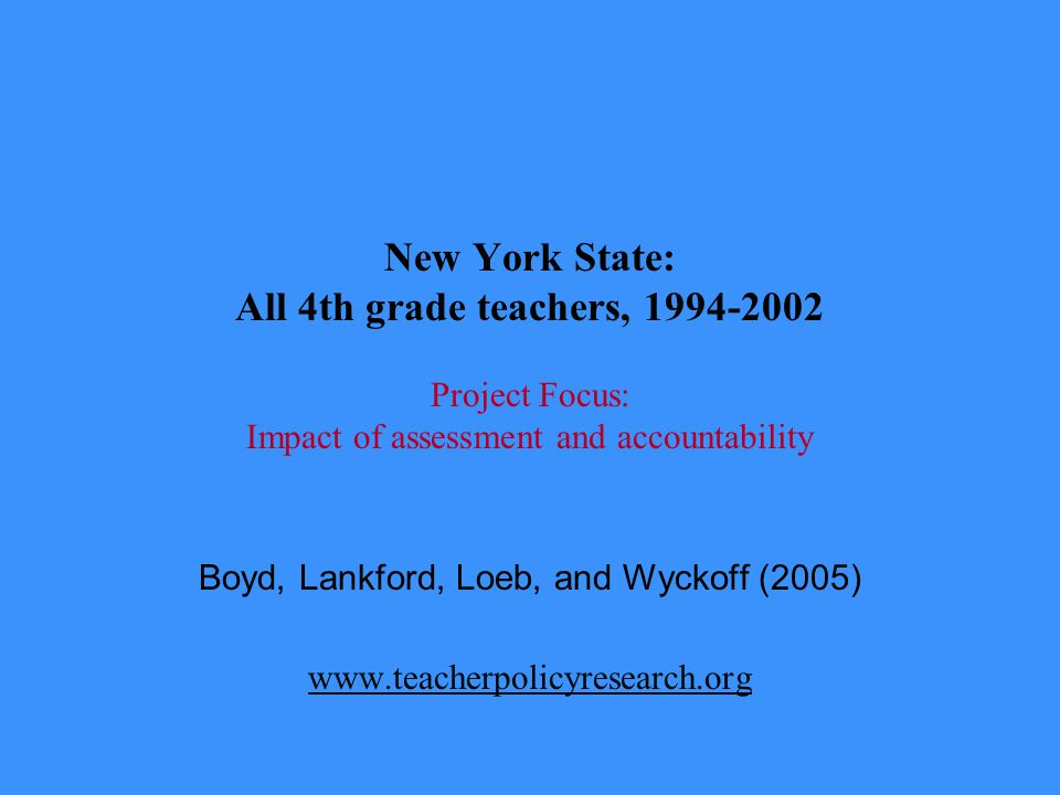 New York State: All 4th grade teachers, 1994-2002 Project Focus: Impact of assessment and accountability Boyd, Lankford, Loeb, and Wyckoff (2005) www.teacherpolicyresearch.org