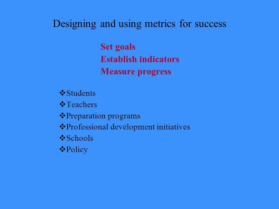 Designing and using metrics for success Set goals Establish indicators Measure progress  Students  Teachers  Preparation programs  Professional development initiatives  Schools  Policy