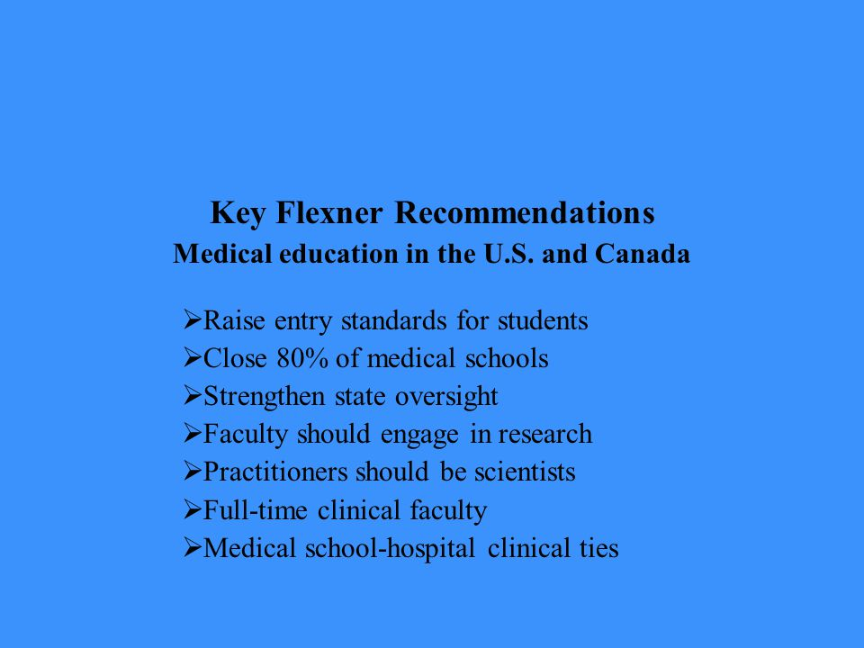 Key Flexner Recommendations Medical education in the U.S.