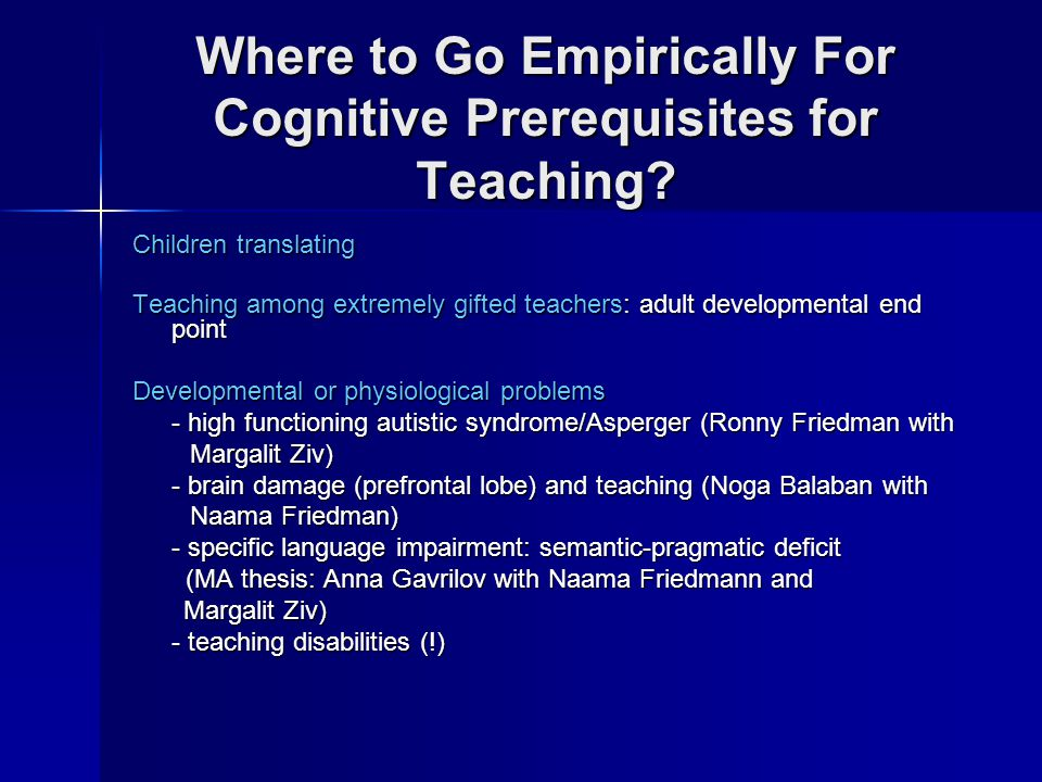 Where to Go Empirically For Cognitive Prerequisites for Teaching.