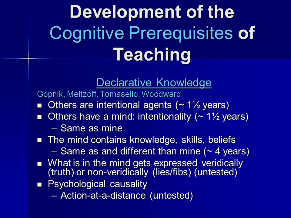 Development of the Cognitive Prerequisites of Teaching Declarative Knowledge Gopnik, Meltzoff, Tomasello, Woodward Others are intentional agents (~ 1½ years) Others are intentional agents (~ 1½ years) Others have a mind: intentionality (~ 1½ years) Others have a mind: intentionality (~ 1½ years) –Same as mine The mind contains knowledge, skills, beliefs The mind contains knowledge, skills, beliefs –Same as and different than mine (~ 4 years) What is in the mind gets expressed veridically (truth) or non-veridically (lies/fibs) (untested) What is in the mind gets expressed veridically (truth) or non-veridically (lies/fibs) (untested) Psychological causality Psychological causality –Action-at-a-distance (untested)