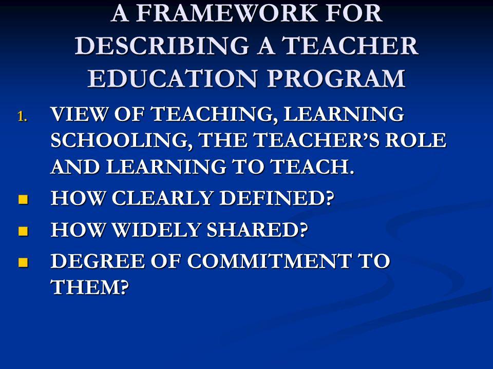 A FRAMEWORK FOR DESCRIBING A TEACHER EDUCATION PROGRAM 1.
