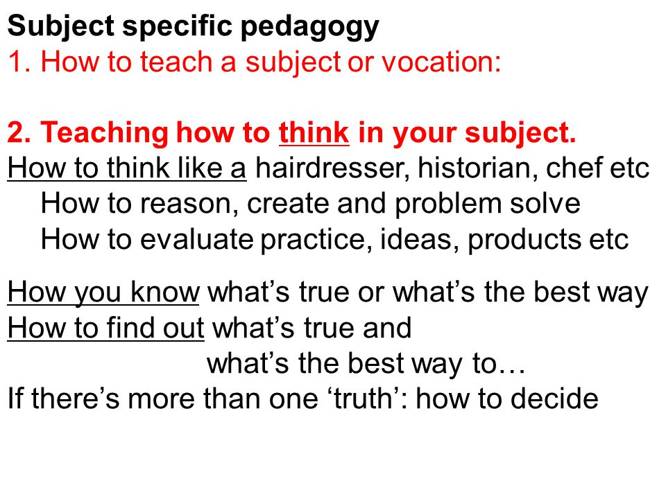 Subject specific pedagogy 1.How to teach a subject or vocation: 2.Teaching how to think in your subject.
