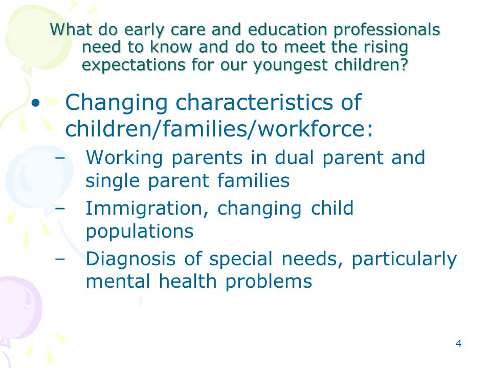 4 What do early care and education professionals need to know and do to meet the rising expectations for our youngest children.