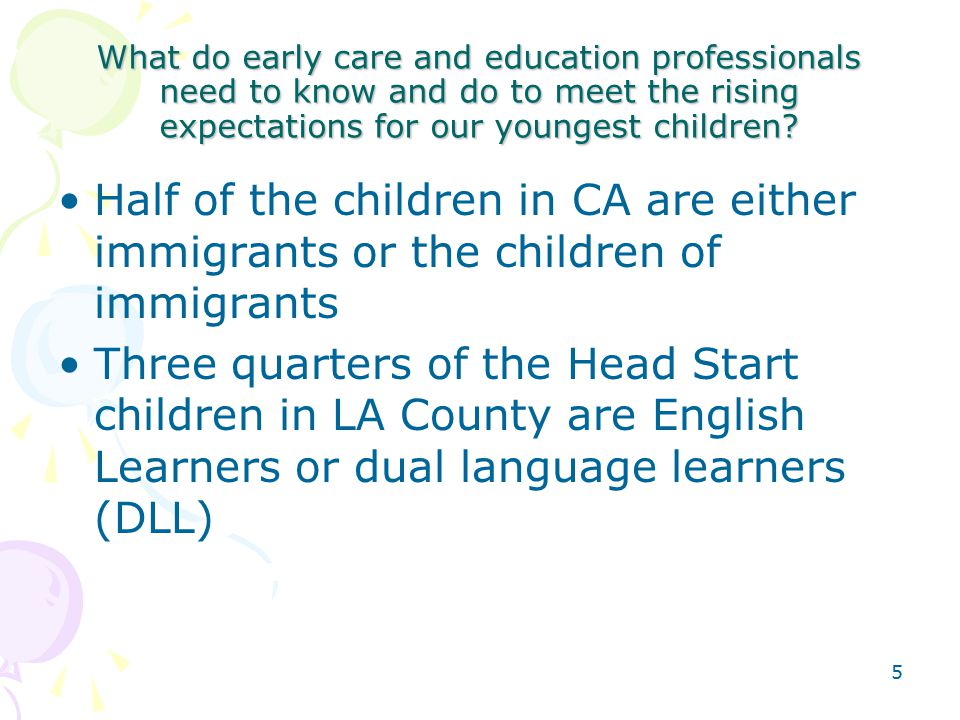 5 What do early care and education professionals need to know and do to meet the rising expectations for our youngest children.