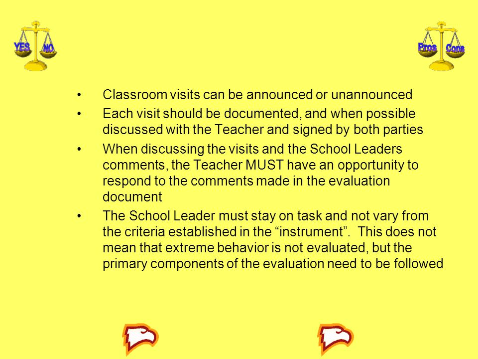 Classroom visits can be announced or unannounced Each visit should be documented, and when possible discussed with the Teacher and signed by both part