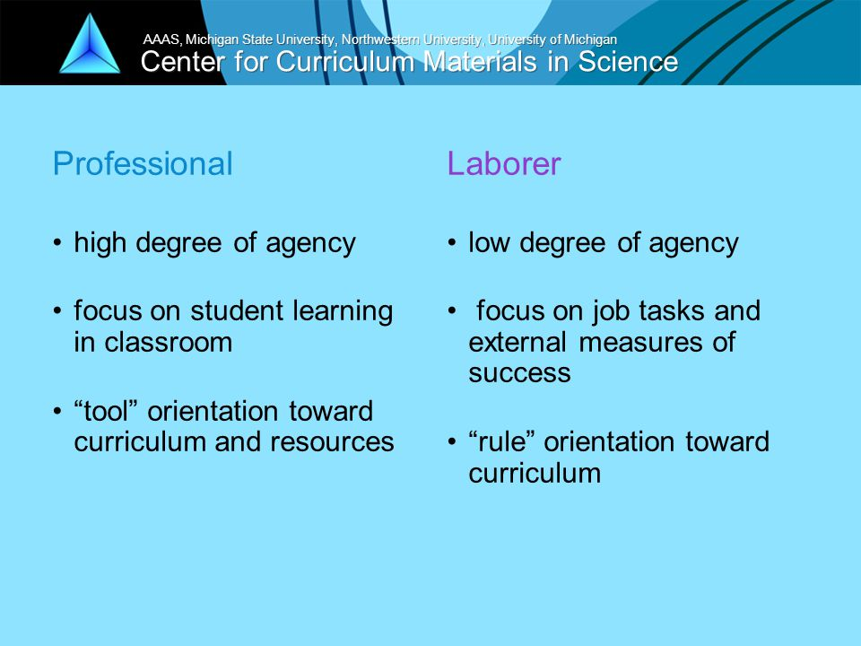 Center for Curriculum Materials in Science AAAS, Michigan State University, Northwestern University, University of Michigan Professional high degree of agency focus on student learning in classroom tool orientation toward curriculum and resources Laborer low degree of agency focus on job tasks and external measures of success rule orientation toward curriculum