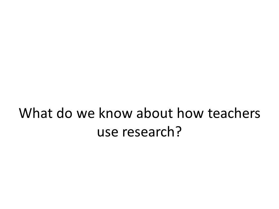 What do we know about how teachers use research