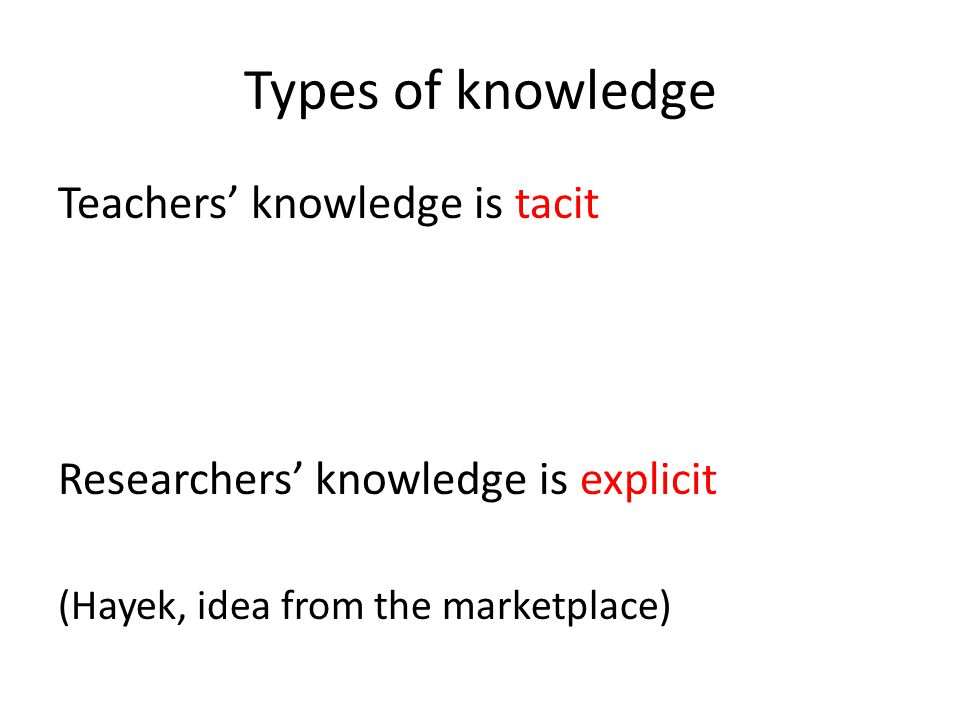 Types of knowledge Teachers' knowledge is tacit Researchers' knowledge is explicit (Hayek, idea from the marketplace)
