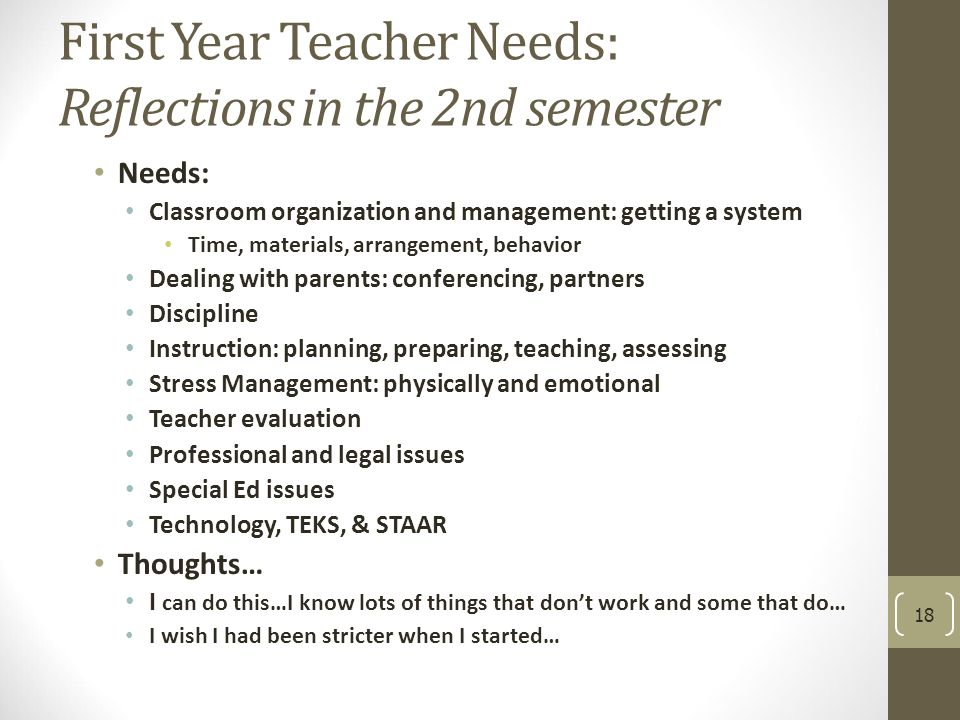 First Year Teacher Needs: Reflections in the 2nd semester Needs: Classroom organization and management: getting a system Time, materials, arrangement, behavior Dealing with parents: conferencing, partners Discipline Instruction: planning, preparing, teaching, assessing Stress Management: physically and emotional Teacher evaluation Professional and legal issues Special Ed issues Technology, TEKS, & STAAR Thoughts… I can do this…I know lots of things that don't work and some that do… I wish I had been stricter when I started… 18