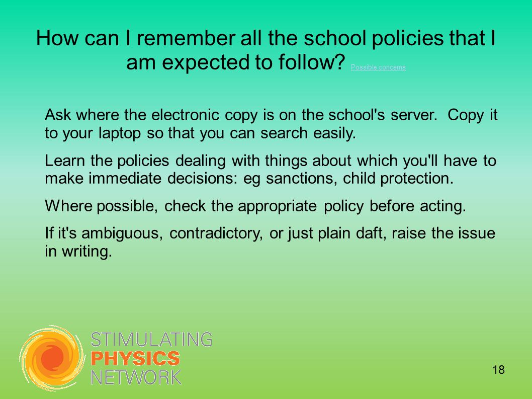 How can I remember all the school policies that I am expected to follow.