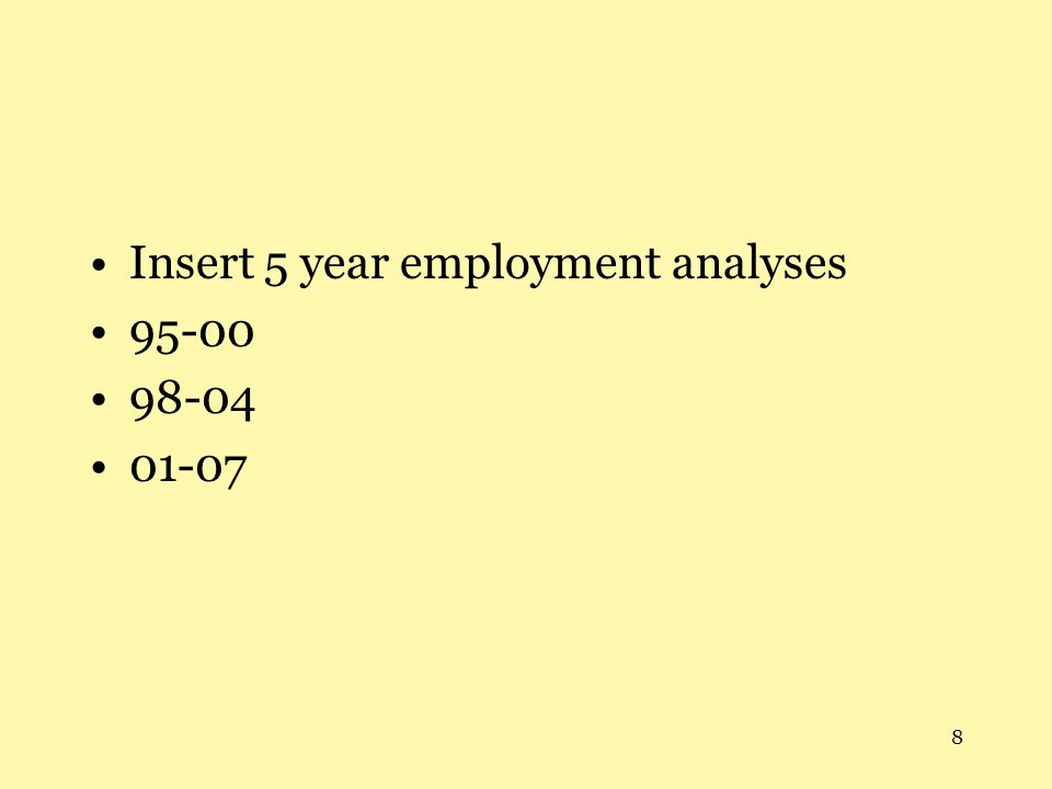 8 Insert 5 year employment analyses 95-00 98-04 01-07