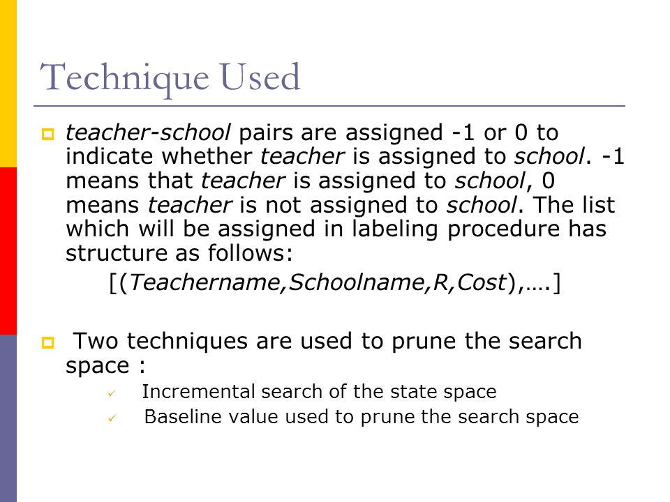 Technique Used  teacher-school pairs are assigned -1 or 0 to indicate whether teacher is assigned to school.