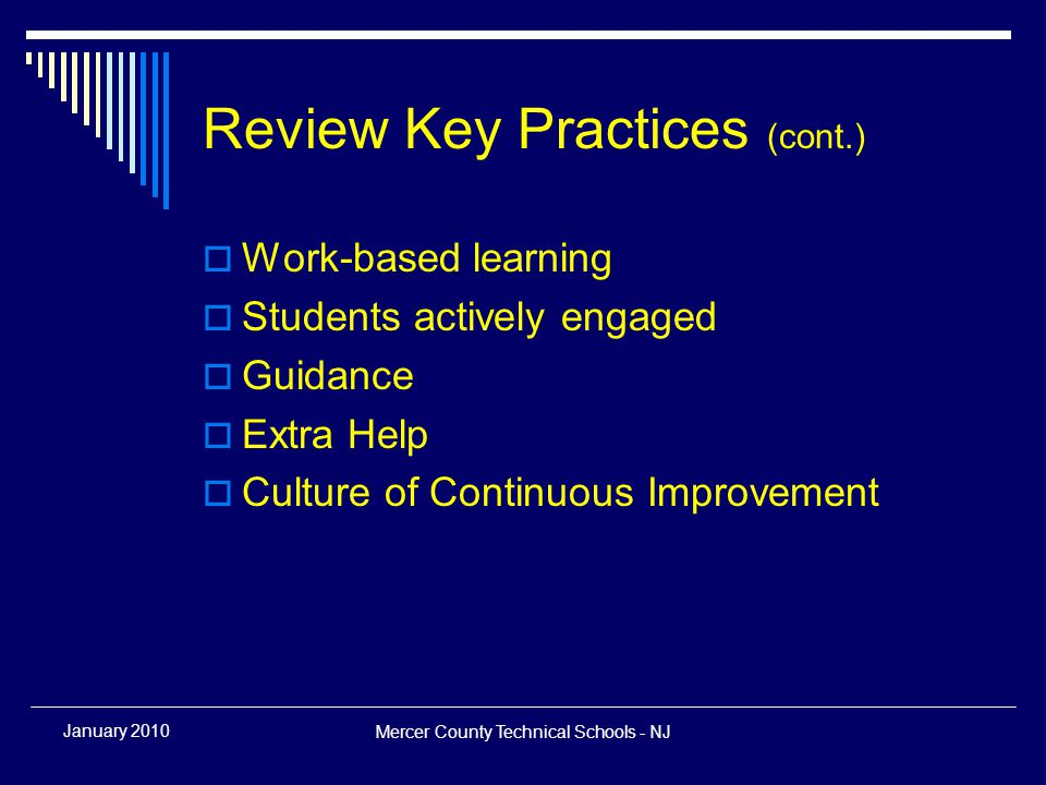 Mercer County Technical Schools - NJ January 2010 Ready for Action  Select a coordinator  Identify supportive starting team  Review student demographics (free/reduced lunch, students with IEP)  Review resources and support— guidance, sending schools, grants…  Review facilities (for optimum use)  Align programs (with local economic growth)  Review college articulations