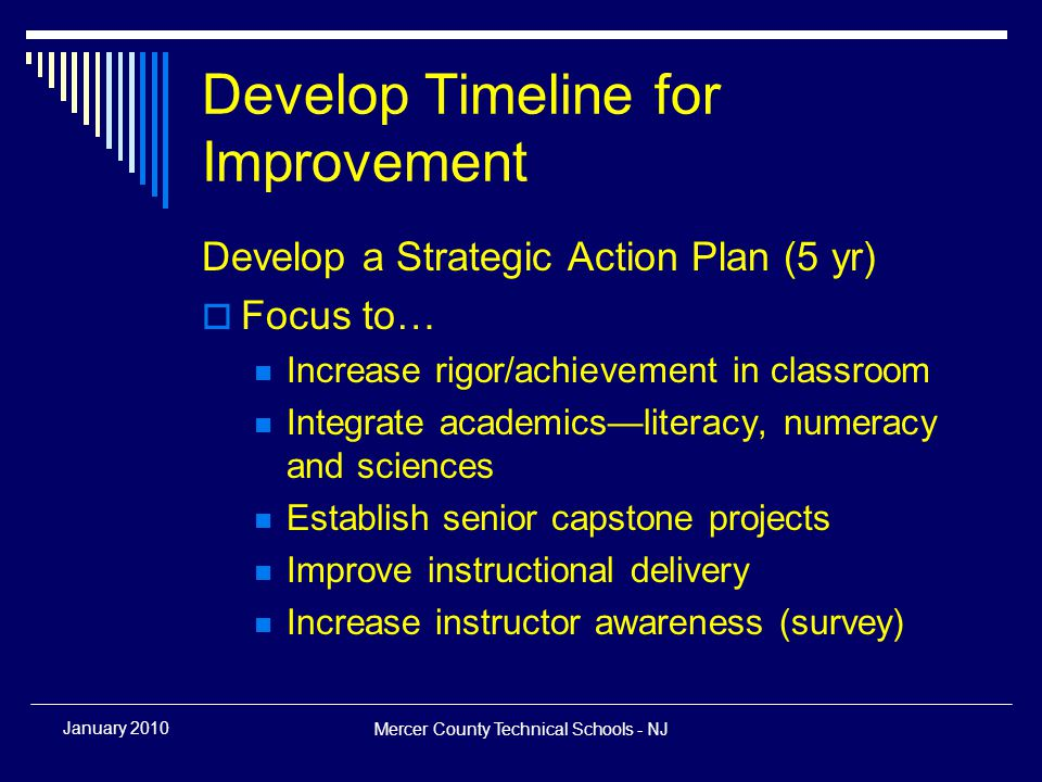Mercer County Technical Schools - NJ January 2010 Develop Timeline for Improvement Develop a Strategic Action Plan (5 yr)  Focus to… Increase rigor/achievement in classroom Integrate academics—literacy, numeracy and sciences Establish senior capstone projects Improve instructional delivery Increase instructor awareness (survey)