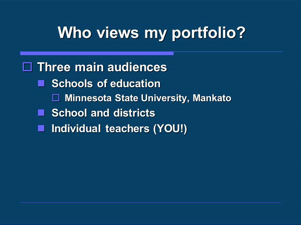 Who views my portfolio?  Three main audiences Schools of education Schools of education  Minnesota State University, Mankato School and districts Sc