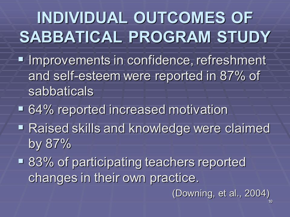 10 INDIVIDUAL OUTCOMES OF SABBATICAL PROGRAM STUDY  Improvements in confidence, refreshment and self-esteem were reported in 87% of sabbaticals  64% reported increased motivation  Raised skills and knowledge were claimed by 87%  83% of participating teachers reported changes in their own practice.