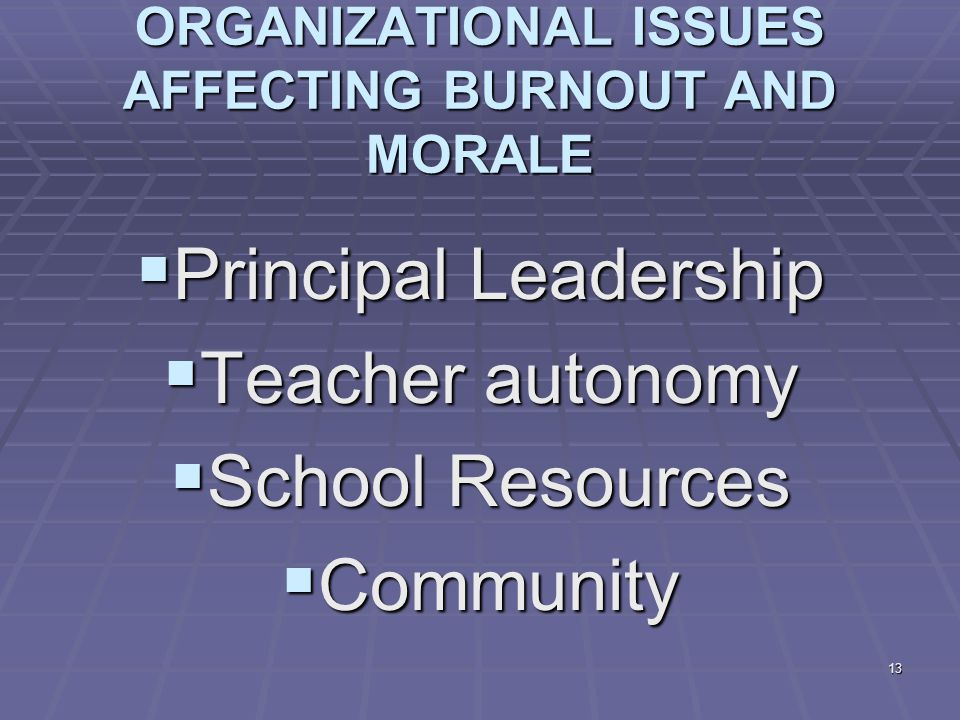 13 ORGANIZATIONAL ISSUES AFFECTING BURNOUT AND MORALE  Principal Leadership  Teacher autonomy  School Resources  Community