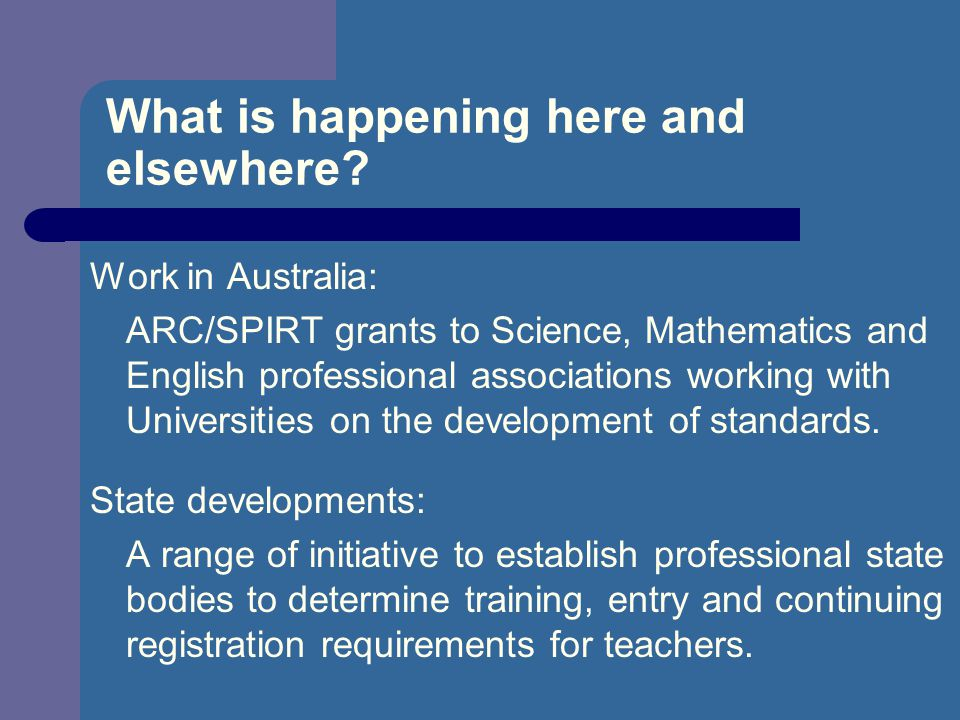 What is happening here and elsewhere? Work in Australia: ARC/SPIRT grants to Science, Mathematics and English professional associations working with U