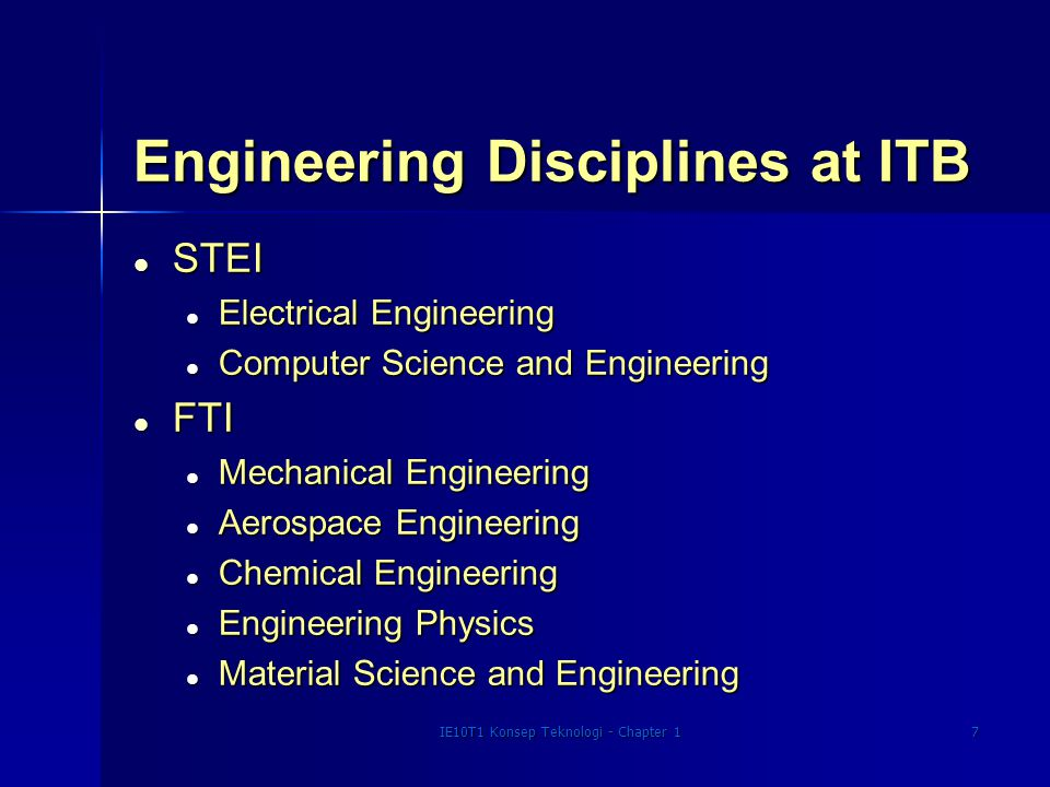 IE10T1 Konsep Teknologi - Chapter 18 Engineering Disciplines at ITB l FTSL l Civil Engineering l Environmental Engineering l Ocean Engineering l FIKTIM l Petroleum Engineering l Mining The above list does not include study programs which are not firmly consideres as engineering discipline in major US academic institutions