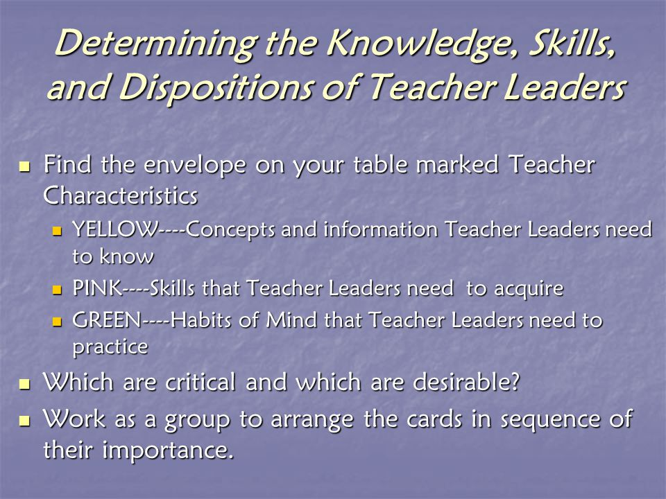 Teacher Leader Academy Activity IV What Constrains and Empowers Teacher Leaders?