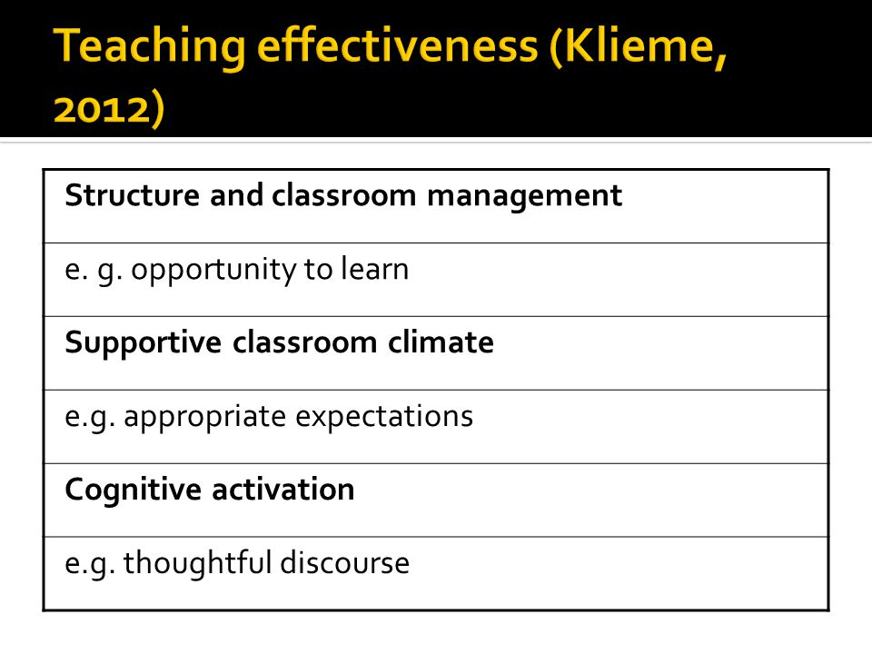 Structure and classroom management e. g. opportunity to learn Supportive classroom climate e.g.
