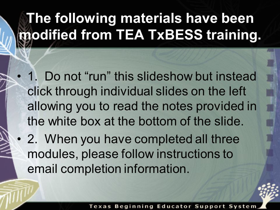 The following materials have been modified from TEA TxBESS training.